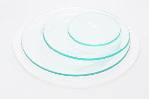 Piatto tondo di vetro trasparente idoneo alla decorazione