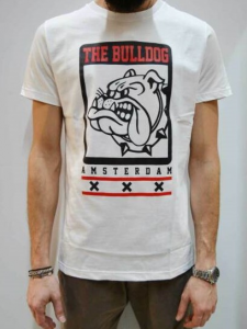 T Shirt The Bull Dog Amsterdam Bianco/Stampa TDBA478