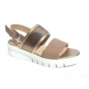 Sandalo taupe/oro doppia fascia Geox
