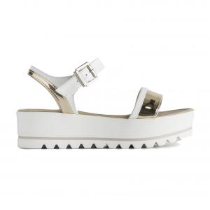 Sandalo bianco/oro con fondo platform Nero Giardini