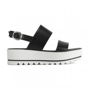 Sandalo nero con fondo platform Nero Giardini
