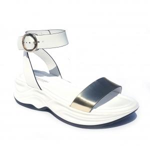 Sandalo bianco/platino con fondo platform Nero Giardini