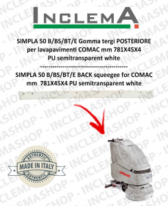 SIMPLA 50 B/BS/BT/E Back Squeegee Rubber optional for Scrubber Dryer COMAC