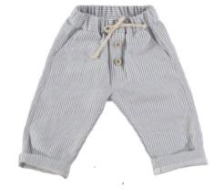 Pantalone a righe blu e bianche con laccio beige