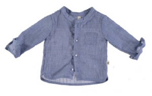 Camicia blu con colletto coreano e taschino