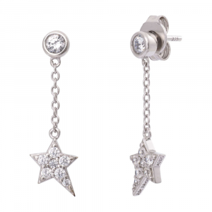 JULIE JULSEN FEELINGS, STUDS, STAR, SILVER, 16 ZIRCONIA