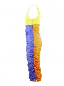 Vestito corto in tessuto viola, giallo ed arancio