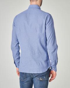 Camicia blu indaco in misto lino
