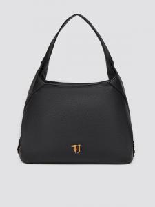 Borsa donna Trussardi Jeans in ecopelle nera con dettagli in raso