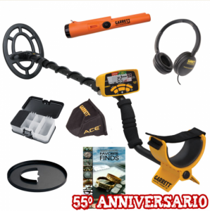Metal Detector Garrett ACE 300i  Summer pack comprensivo di cuffie, copridisplay e copripiastra, centratore Garrett pro-pointer at ip 68 e mini pala xt all black