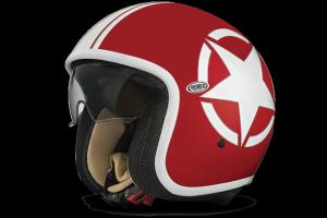 Casco jet Premier Vintage Star 2 rosso bianco