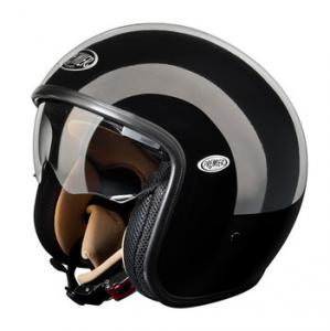 Casco moto jet Premier Vintage in fibra con visierino integrato Nero lucido