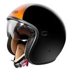 Casco moto jet Premier Vintage in fibra con visierino integrato Nero Arancio