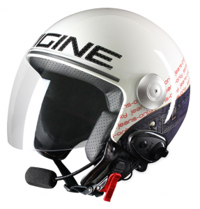 Casco jet Origine Pronto Jeans con interfono Kiè