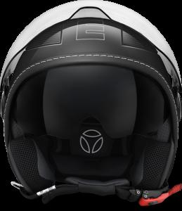 Casco jet Momo Design Avio Pro in fibra nero lucido carbonio argento
