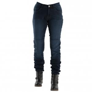 Jeans moto donna Overlap City Dark con rinforzi in  Fibra Aramidica blu