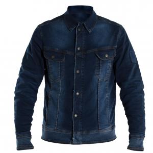 Giacca moto jeans Overlap Jared Smalt con maniche in Fibra Aramidica blu