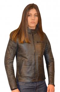 Giacca moto donna pelle Jollisport SLY grigio scuro