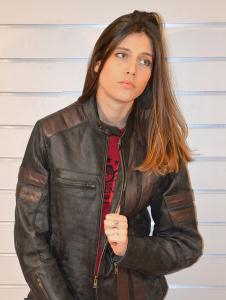 Giacca moto donna pelle Jollisport Roger grigio scuro