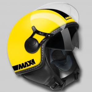Casco jet Max Power Doppia Visiera giallo nero