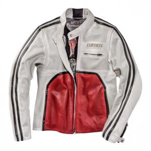 Giacca moto pelle estiva Dainese72 TOGA72 traforata Bianco Rosso