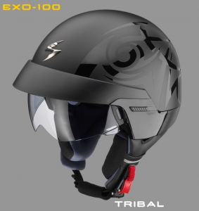 Casco jet Scorpion Exo 100 Tribal Nero
