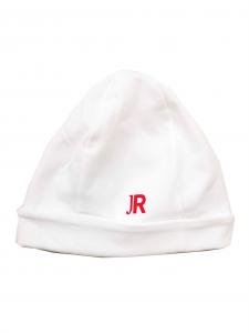 Cappello bianco con stampa logo rosso