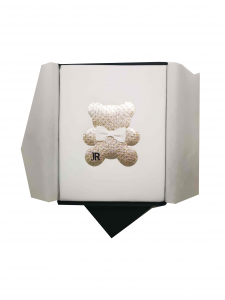 Coperta panna con orsacchiotto oro