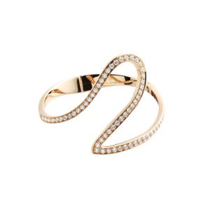 Bracciale Cuff in oro rosa e diamanti