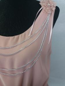 Canotta donna spalla larga in chiffon rosa antico elegante