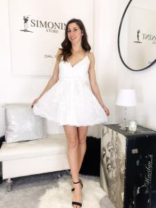 abito corto Alice in tessuto di chiffon ricamato con spallina regolabile e cintura in vita made in italy