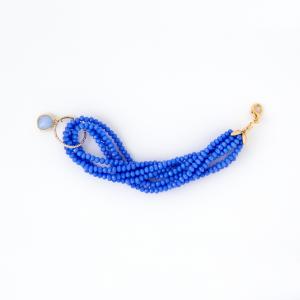 Bracciale in ottone galvanizzato e  pietre idrotermali azzurre