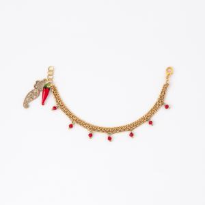 Bracciale in ottone galvanizzato con pendenti a forma di cornetto