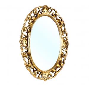 Specchiera ovale foglia oro patinato