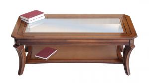 Tavolino rettangolare piano cristallo