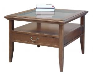 Tavolino classico, piano in cristallo e cassetto