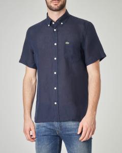 Camicia blu mezza manica in lino button down con taschino