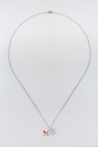 Collana lunga con ciondoli stella farfalla in argento 925%