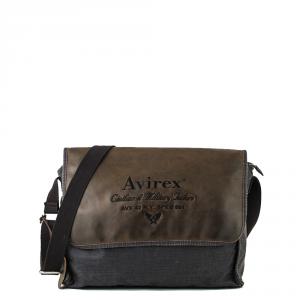 Avirex - D Day - Borsa a tracolla unisex in canvas e pelle marrone scuro cod. DDY-F07