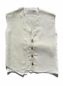 Gilet bianco con cinta dietro