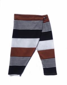 Pantalone a righei blu, marroni e bianche