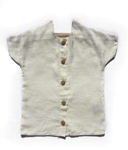 T-Shirt bianca con chiusura a bottoni