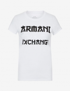 T-shirt donna ARMANI EXCHANGE con stampa a contrasto