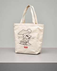 Shopping bag in canvas color naturale con stampa Snoopy e batwing logo