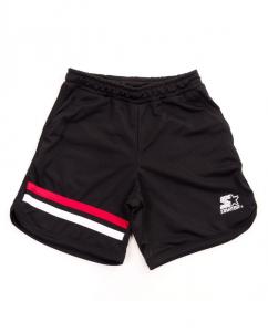 Pantaloncino nero con stampa logo bianco e bande rossa e bianca