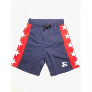 Pantaloncino di tuta blu con logo bianco, bande rosse e stelle bianche
