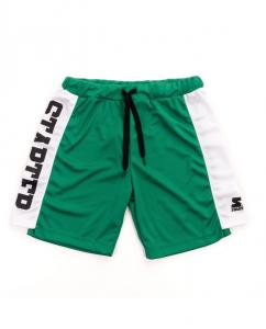 Pantaloncino verde con bande bianche e stampe scritta e logo neri