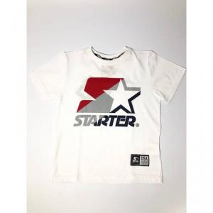 T-Shirt bianca con stampa logo rosso, grigio e blu