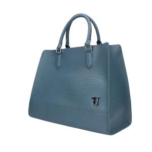 Borsa donna Trussardi jeans a mano con tracolla in saffiano light blue