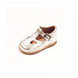 Scarpe a sandalo in pelle argento con fibbia